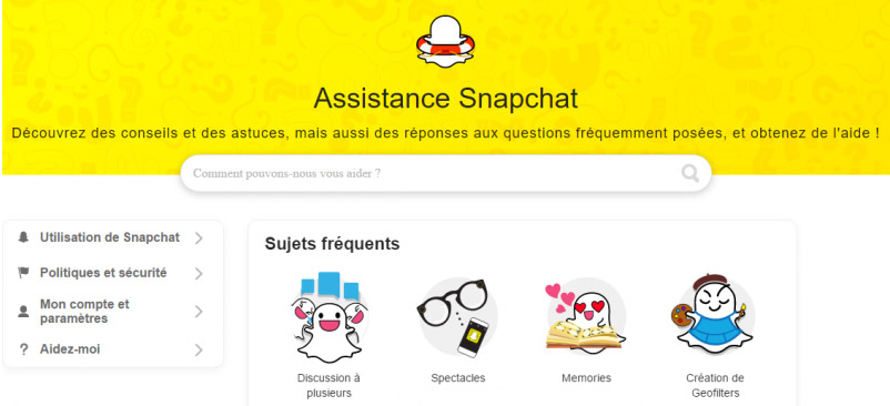 Assistance Snapchat