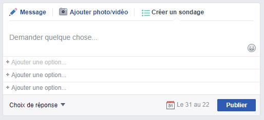 sondage Facebook
